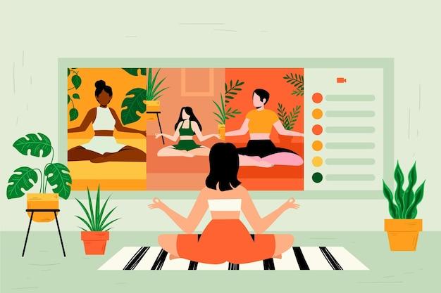 Интернет-класс йоги Бесплатные векторы