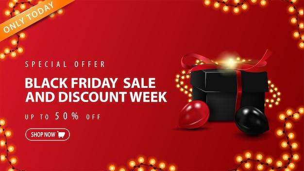 오늘만 특별 제공, 블랙 프라이데이 세일 및 할인 주간, 최대 50 % 할인, 선물 상자와 화환 프레임이있는 빨간색 할인 배너 프리미엄 벡터