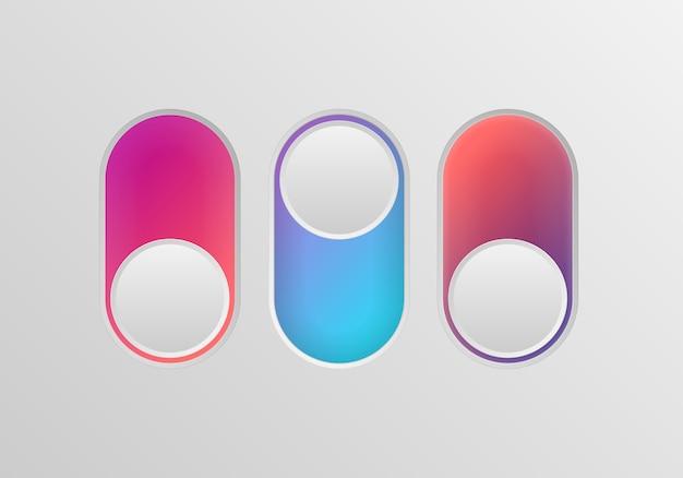 Плоский значок красочные переключатели onoff на белом фоне. значок тумблера, синий включен, серый выключен. шаблон для мобильных и веб-приложений. векторные 3d иллюстрации Premium векторы