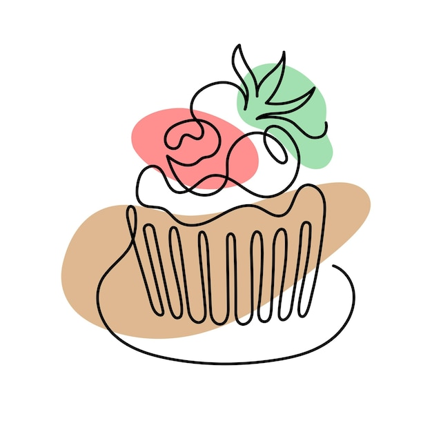 Ð¡ontinuous one line art of cake with berries. hand drawn logo. cafe and bakery concept. vector ill