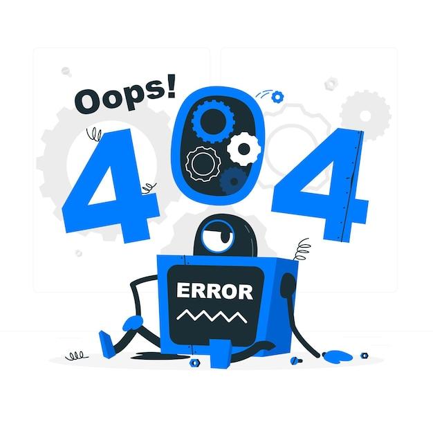 К сожалению! ошибка 404 с разбитой иллюстрацией концепции робота Бесплатные векторы