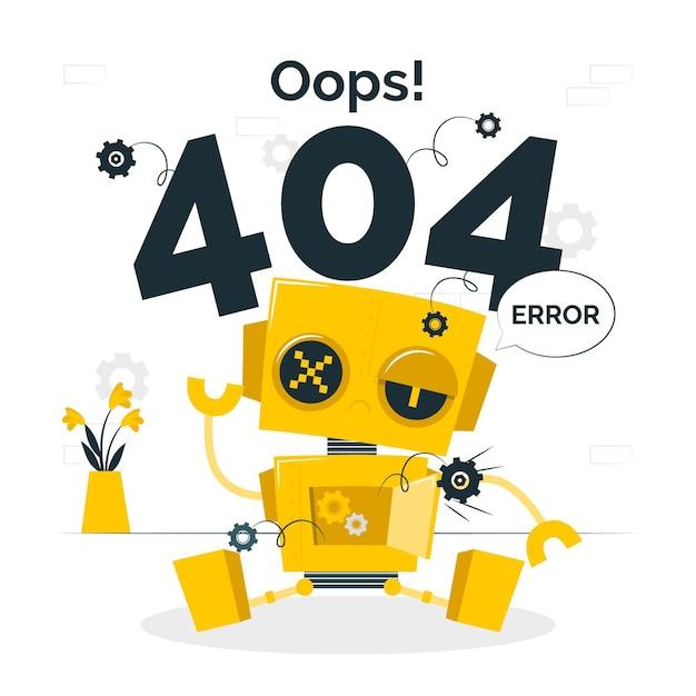 Oops! 404 error with a broken robotconcept illustration Free Vector