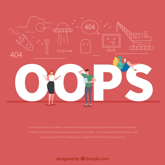 Oops word concept Free Vector