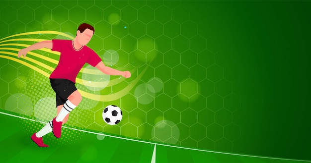 Ootball player green background Premium Vector