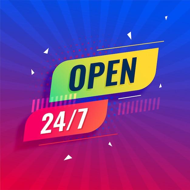 Open 24/7 all days modern signboard Free Vector