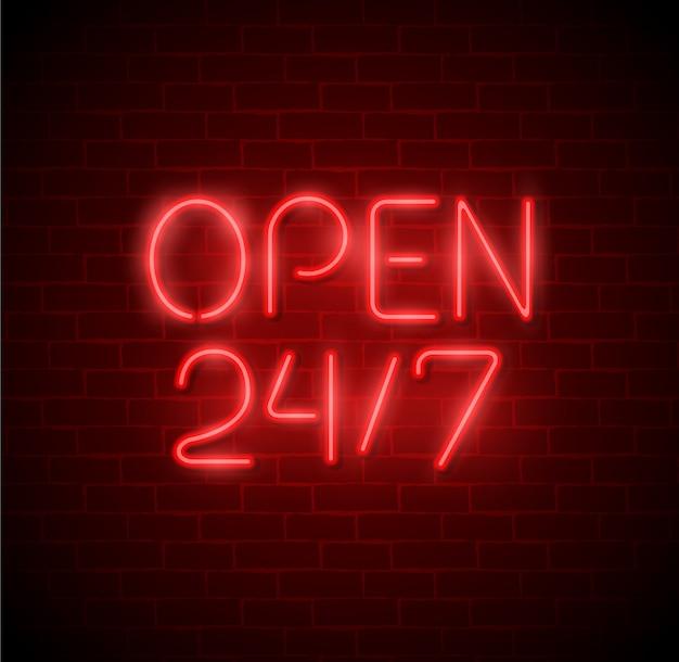 Open 24/7 hours neon light on brick wall. 24 hours night