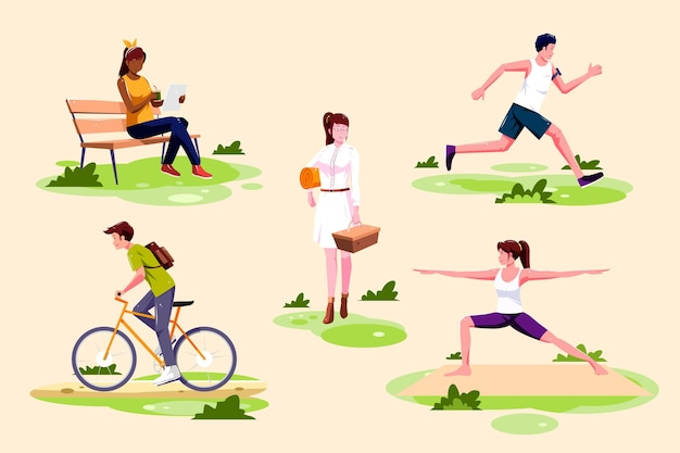 Open air activities illustration Free Vector