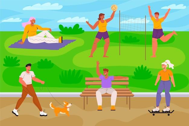 Open air activities in park Free Vector