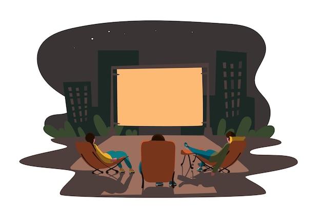 Концепция кинотеатра под открытым небом Premium векторы
