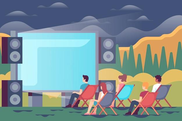 Иллюстрация кино под открытым небом Бесплатные векторы