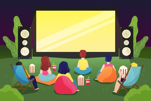 Кинотеатр под открытым небом Premium векторы