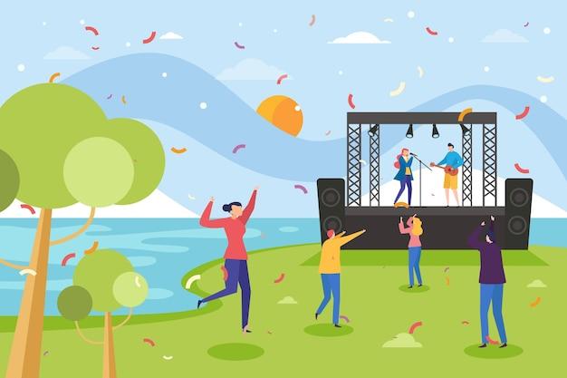 Open air concert concept Free Vector