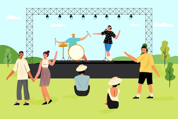 Open air concert illustration Free Vector