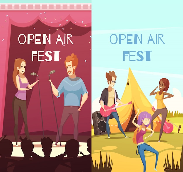 Open air festival banners set Free Vector