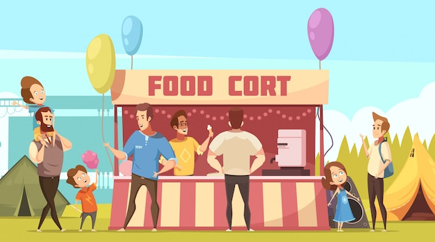 Open air festival camping area retro cartoon banner with food court tents and fathers with kids Free Vector