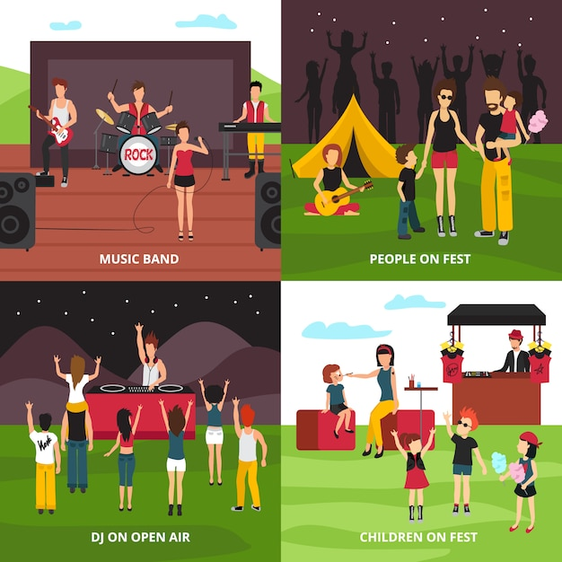 Open air festival design concept with flat people characters dancing playing music relaxing in camping park Free Vector