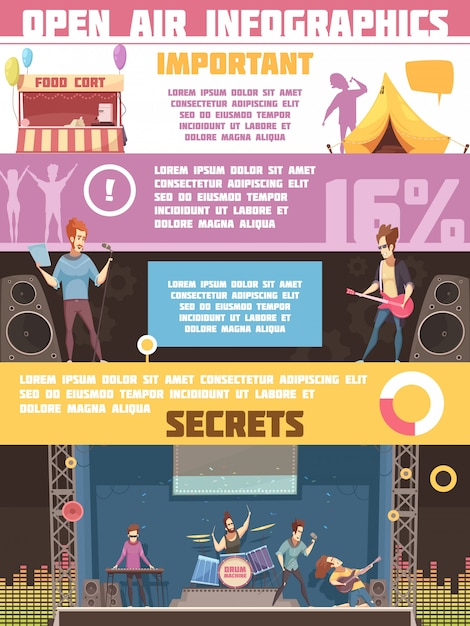 Open air festival infographic retro cartoon poster with camping tips rules and information on performers Free Vector