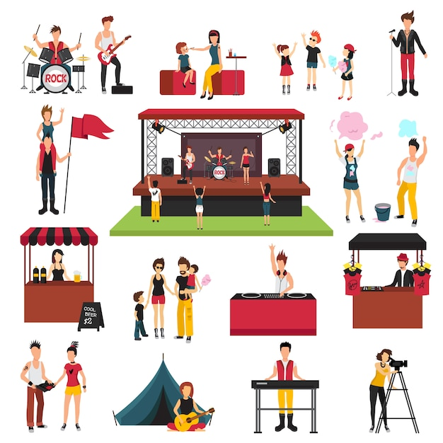 Open air festival isolated icons collection with human characters of fest visitors families musicians soda jerks Free Vector