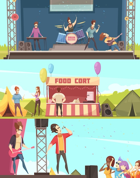 Open air festival players and audience 3 retro cartoon horizontal banners with stage tents food court Free Vector