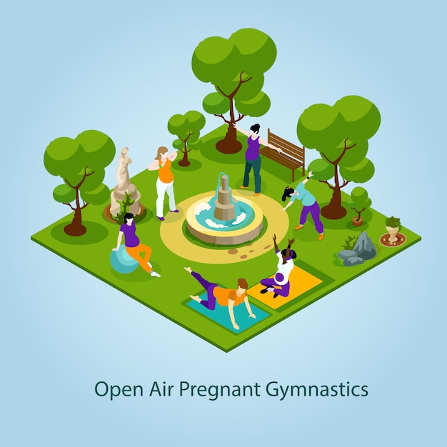 Open air gymnastics for pregnant illustration Free Vector