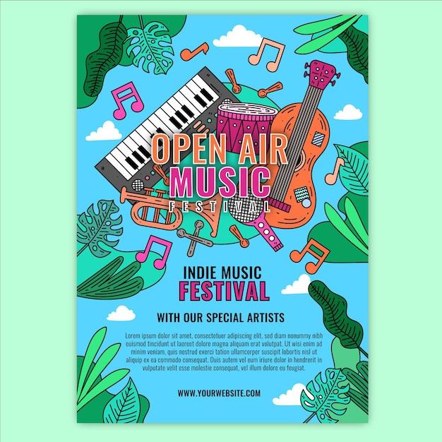 野外音楽祭イベントポスタースタイル 無料ベクター