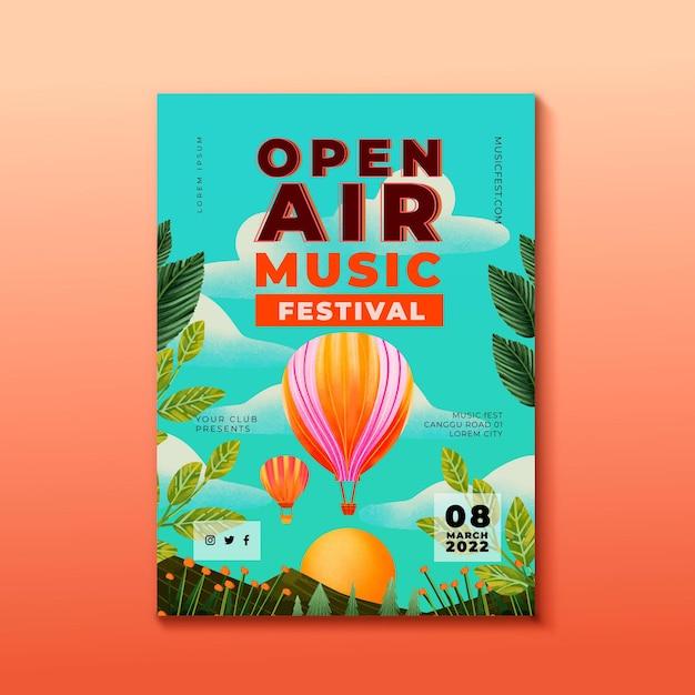 野外音楽祭のポスターと熱気球のテンプレート 無料ベクター