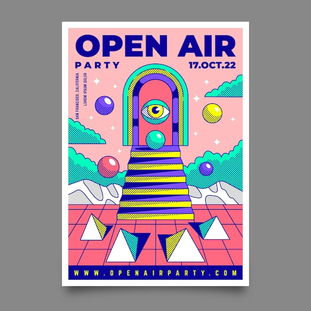 Open air music festival poster template Free Vector