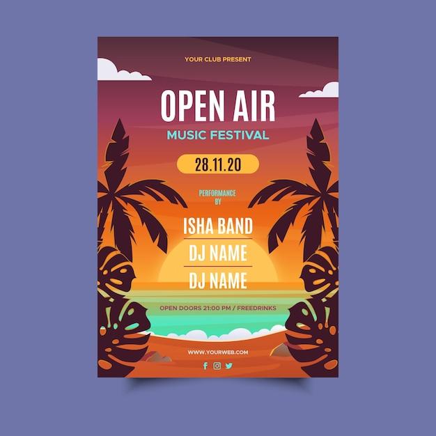 Manifesto del festival musicale all'aperto Vettore gratuito