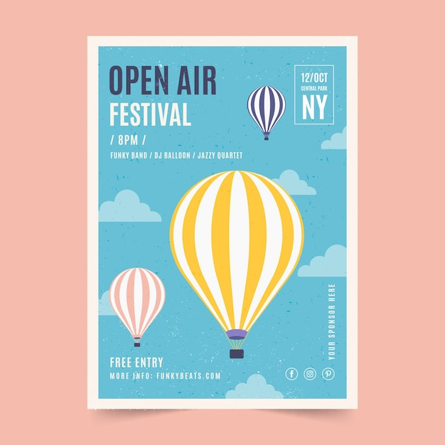야외 음악 축제 포스터 무료 벡터