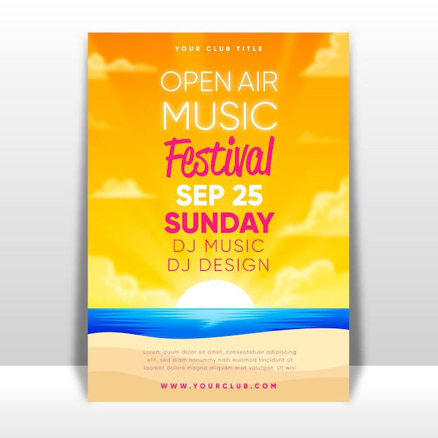 Open air music festival poster Free Vector