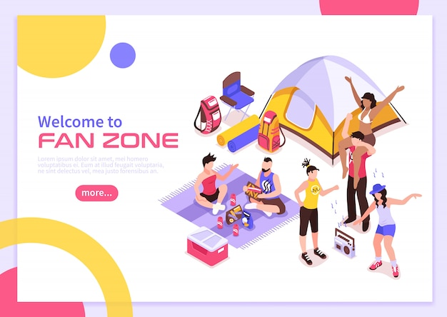 Open air music festival summer poster with invitation to visit fan zone isometric Free Vector