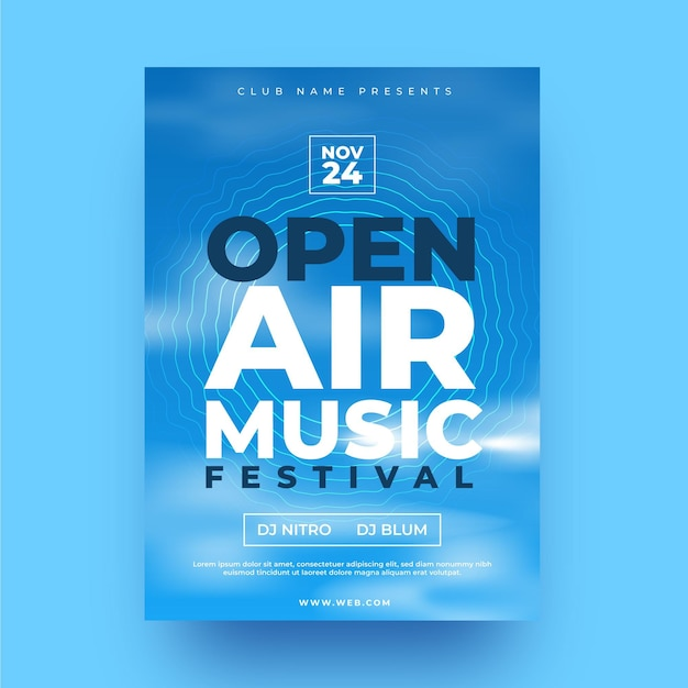 Open air party poster template Free Vector