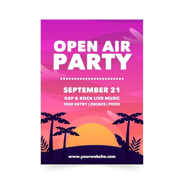 Шаблон плаката вечеринки под открытым небом Бесплатные векторы