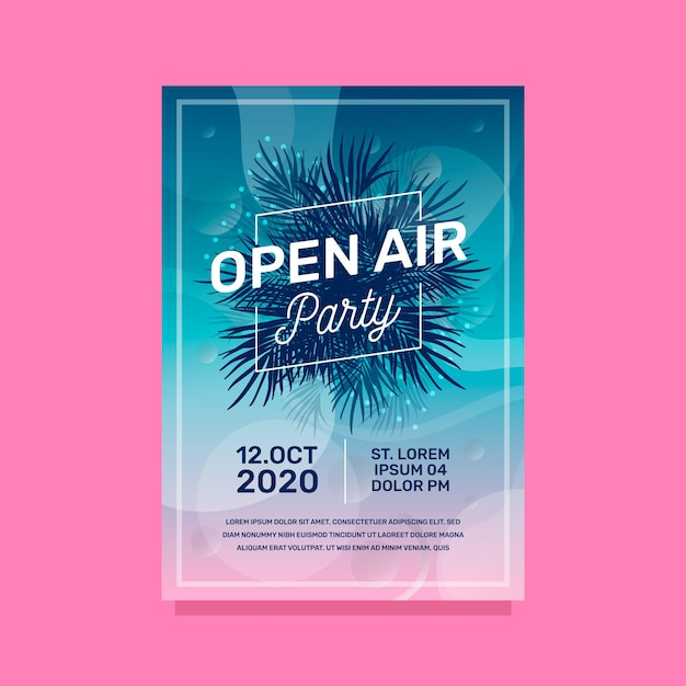 Open air party poster Free Vector