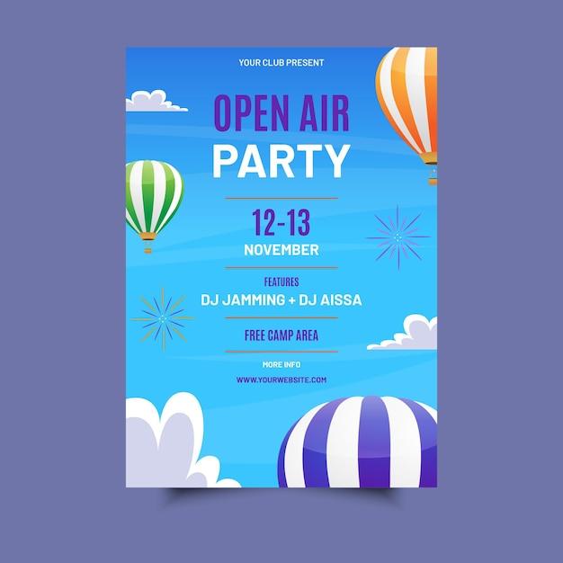Афиша вечеринки под открытым небом Бесплатные векторы