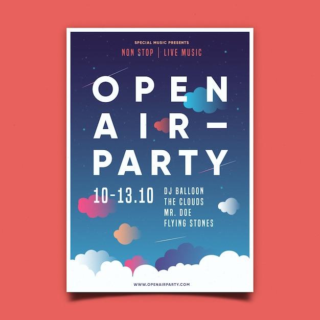 Афиша вечеринки под открытым небом Premium векторы