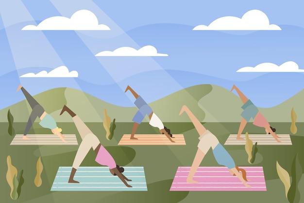 Open air yoga class concept Free Vector