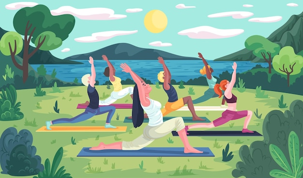 Open air yoga class concept Free Vector