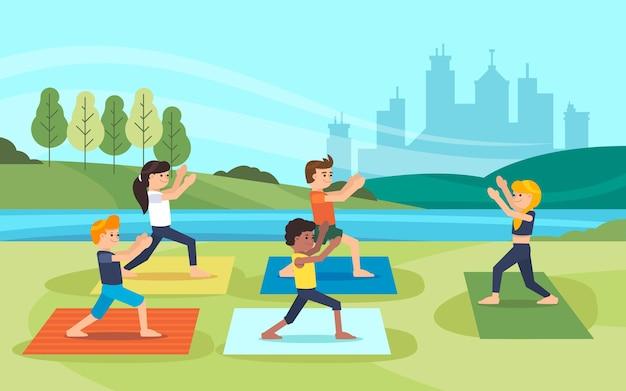 Иллюстрация класса йоги на открытом воздухе Бесплатные векторы