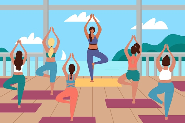 Open air yoga class illustration Free Vector