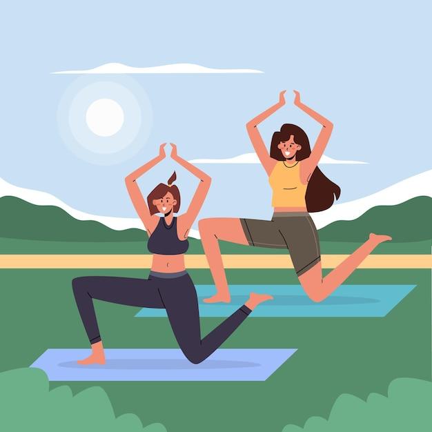 Open air yoga class illustration Free Vector