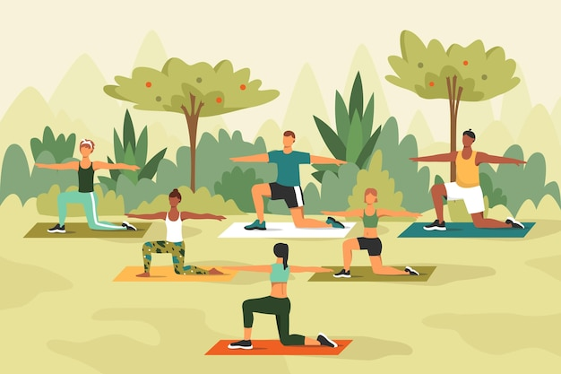Lezione di yoga all'aperto con persone che lavorano Vettore gratuito