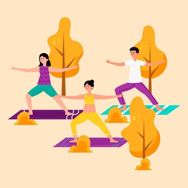 Open air yoga class Free Vector