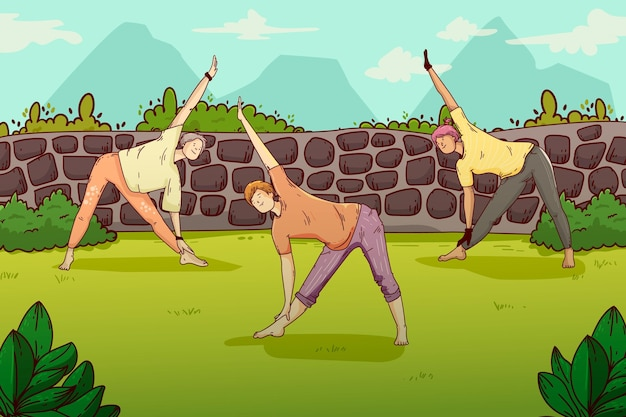 Lezione di yoga all'aria aperta Vettore gratuito