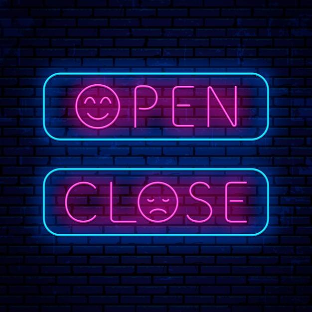 Открывать и закрывать неоновые сингборды Premium векторы
