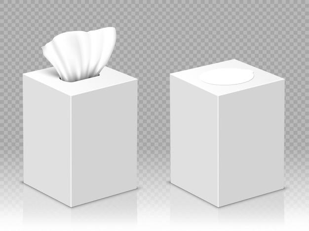 ホワイトペーパーナプキン付きのオープンボックスとクローズドボックス 無料ベクター