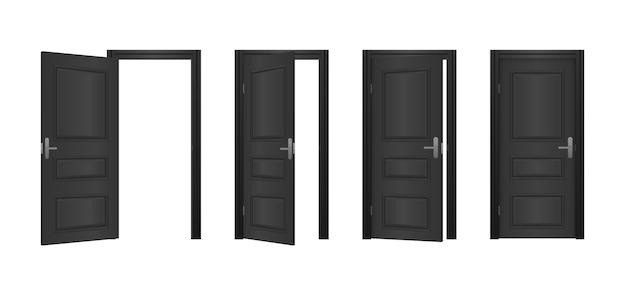 흰색 배경에 고립 된 집의 열리고 닫힌 정문. 열리고 닫힌 입구 현실적인 문. 클래식 룸 개념. 빛나는 빛을 가진 나무로되는 옥외 입구. 프리미엄 벡터