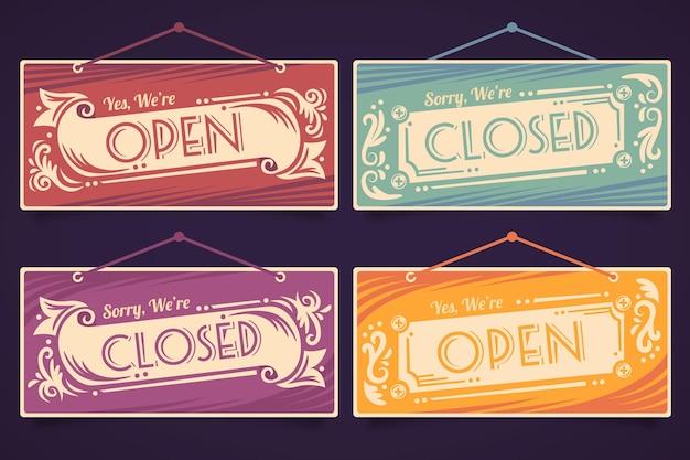 Открытая и закрытая вывеска Бесплатные векторы