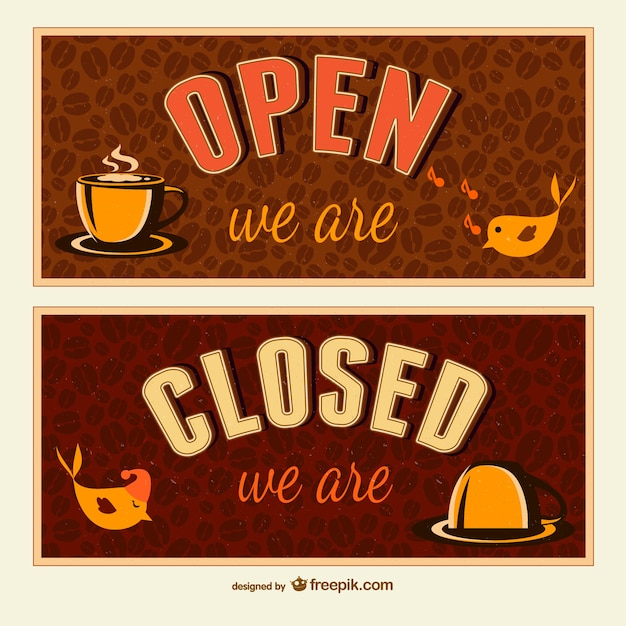 Open and closed signs Vector | Free Download