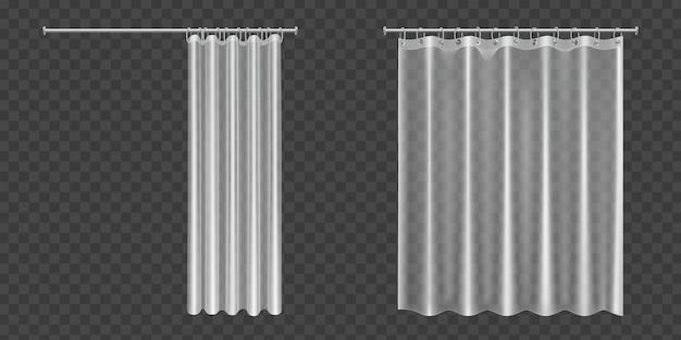 Открытые и закрытые прозрачные занавески для душа Бесплатные векторы